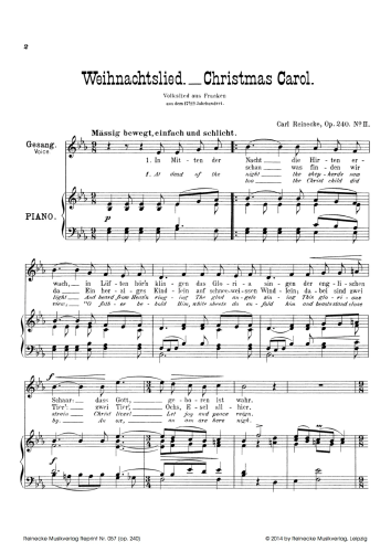 Weihnachtslieder Einfach.Reinecke Zwei Weihnachtslieder Für Eine Singstimme Op 240